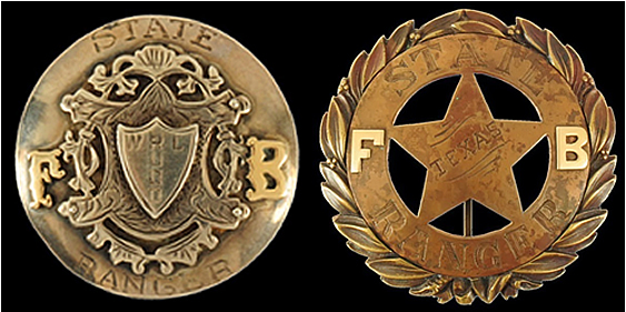 Alleged W.L. Rudd Badge (left) Alleged Frontier Battalion Badge (right)