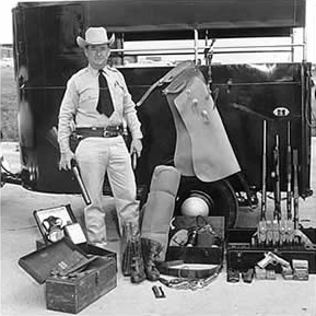 Ranger Dudley White, Jr.  with 1950s horse trailer and issued equipment. ©TRHFM