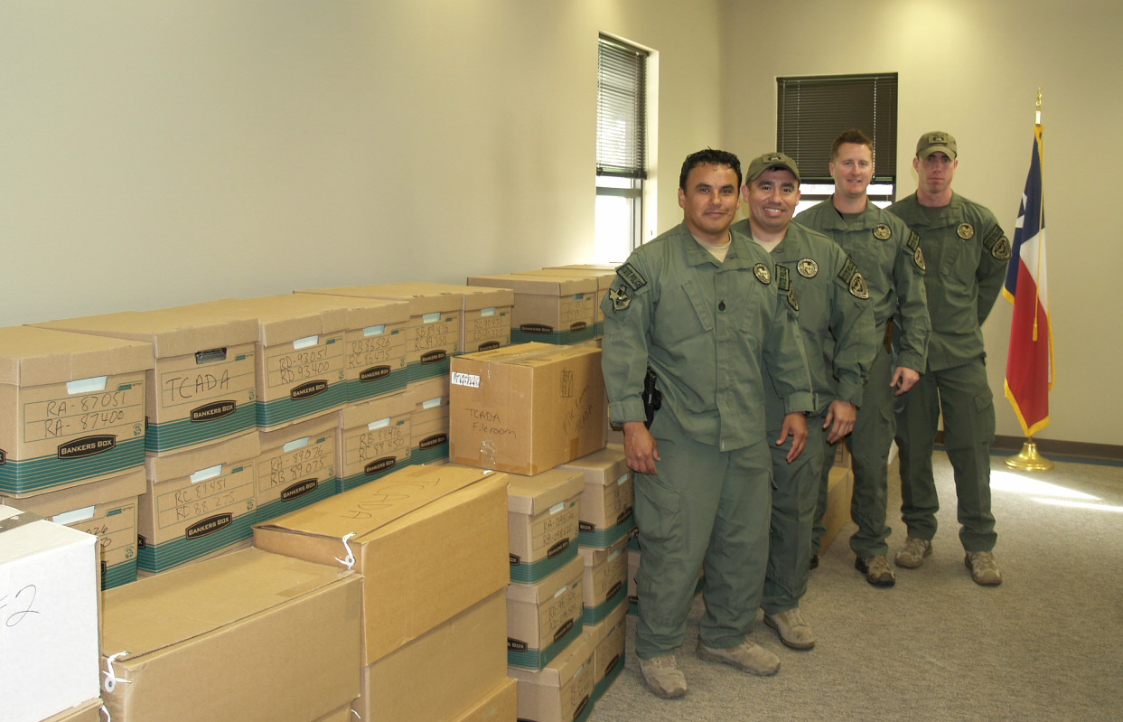SWAT Sgt.s Arigullin, Gonzales, Allison, Ballew donate archives to the Armstrong Texas Ranger Research Center, February 2012
