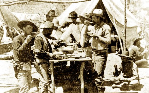 Capt. D. W. Roberts' Company in camp, ca 1878.