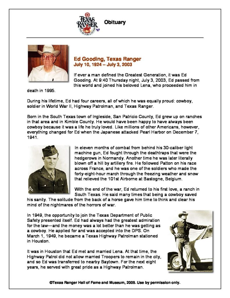 OBIT - Gooding_Ed - Texas Ranger Hall of Fame and Museum