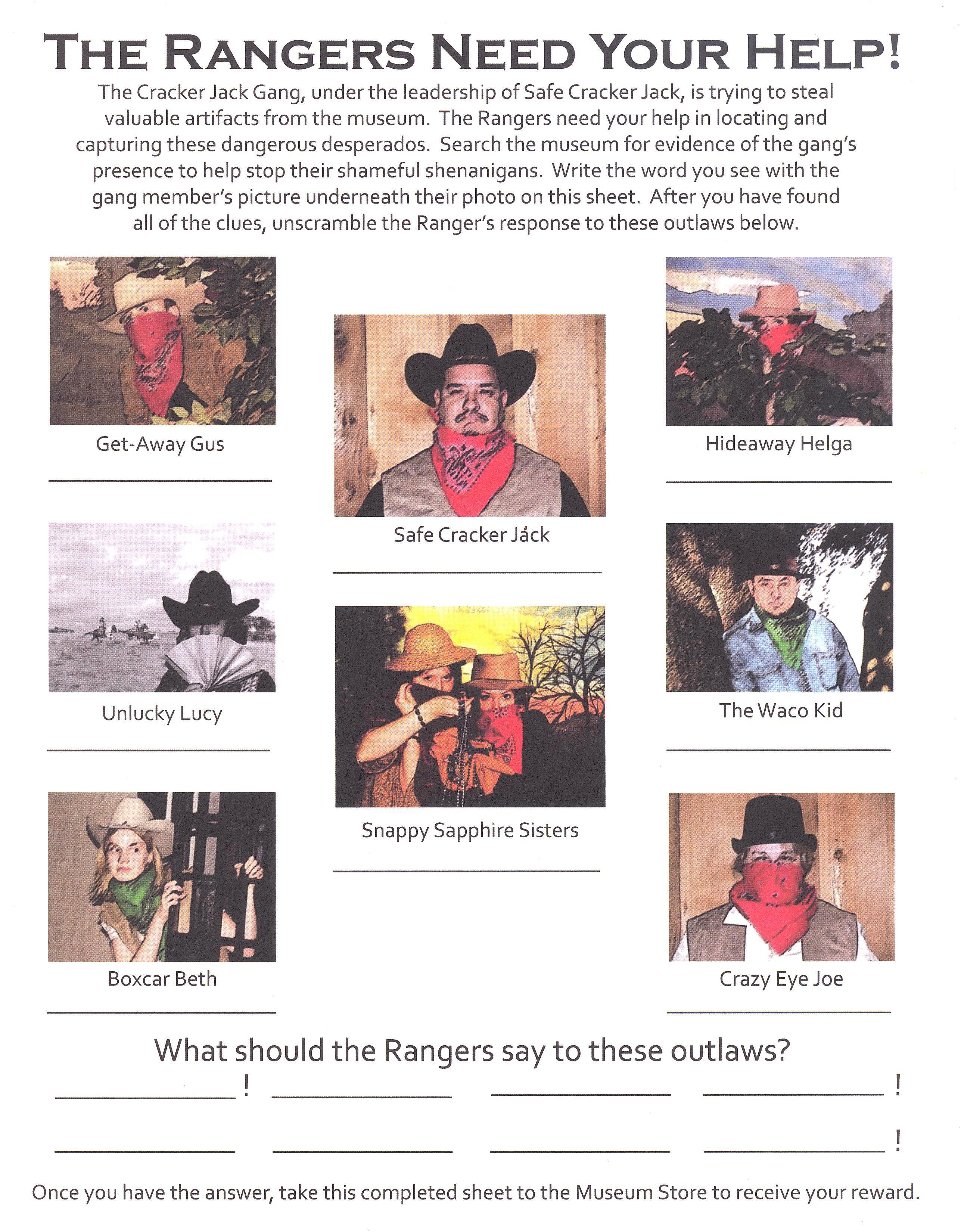 Activity Sheets - Texas Ranger Hall of Fame and Museum