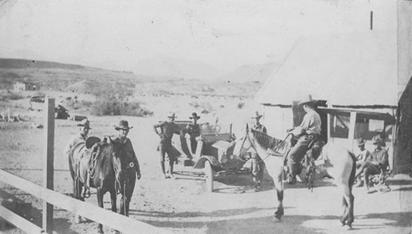 Texas Rangers and US Army operating together on the Border during the World War I era. From the J.R. Hunnicutt collection.