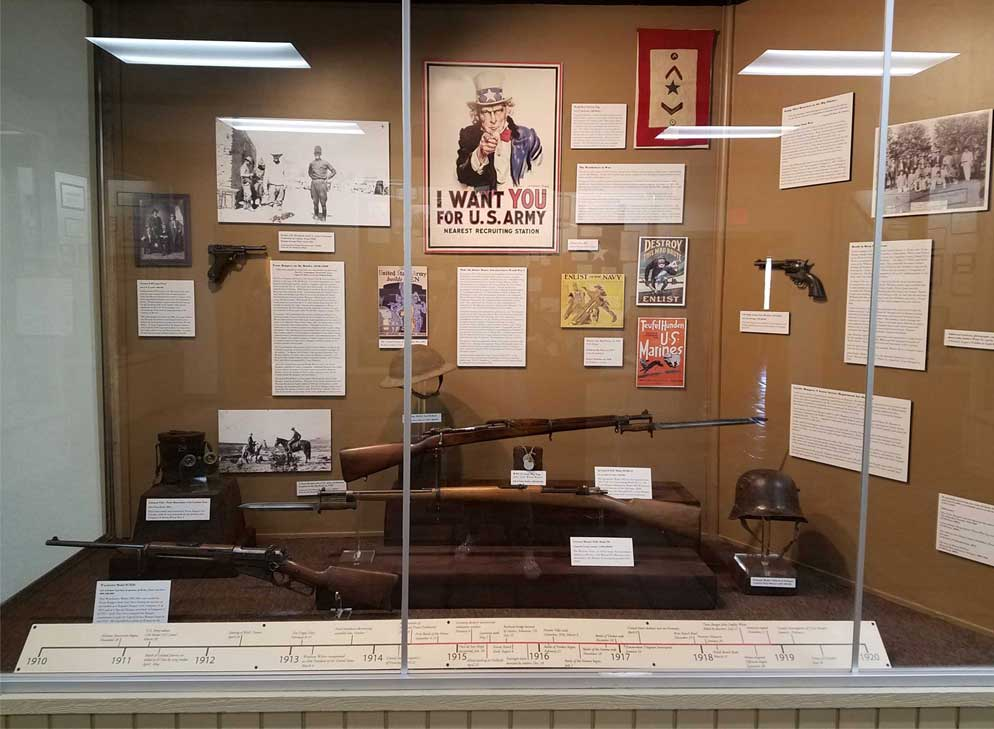 Exhibit on The Texas Rangers and World War I at the Museum, April 2017.