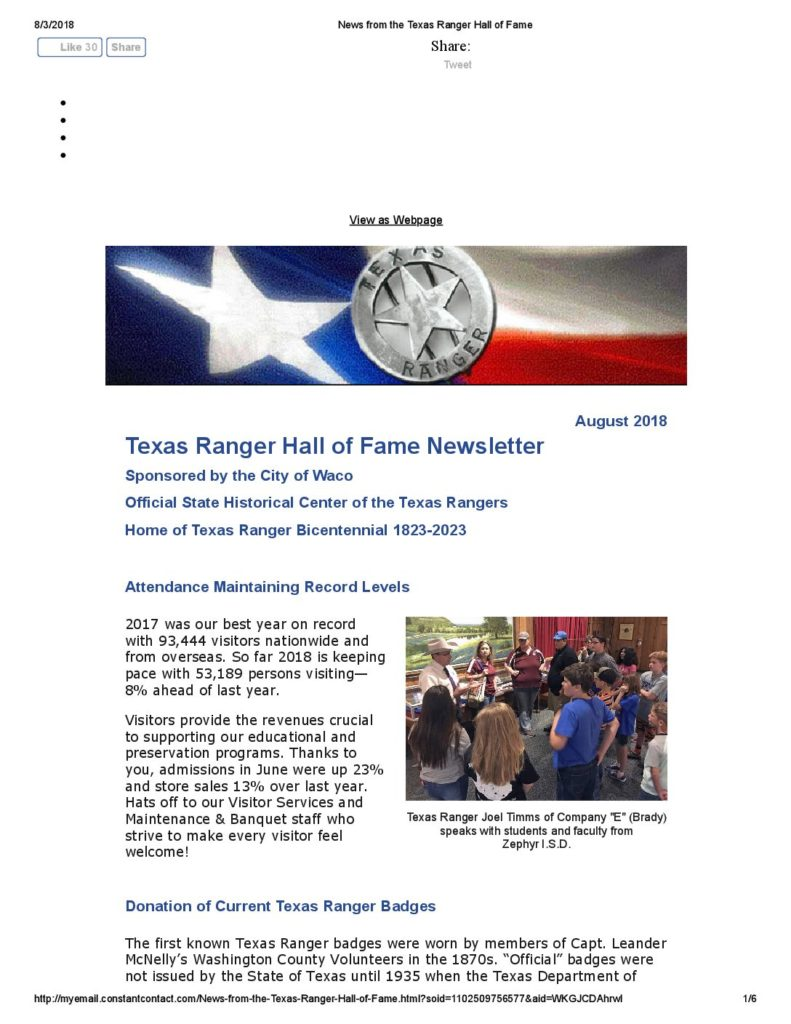 NEWSLETTER_August2018 - Texas Ranger Hall of Fame and Museum