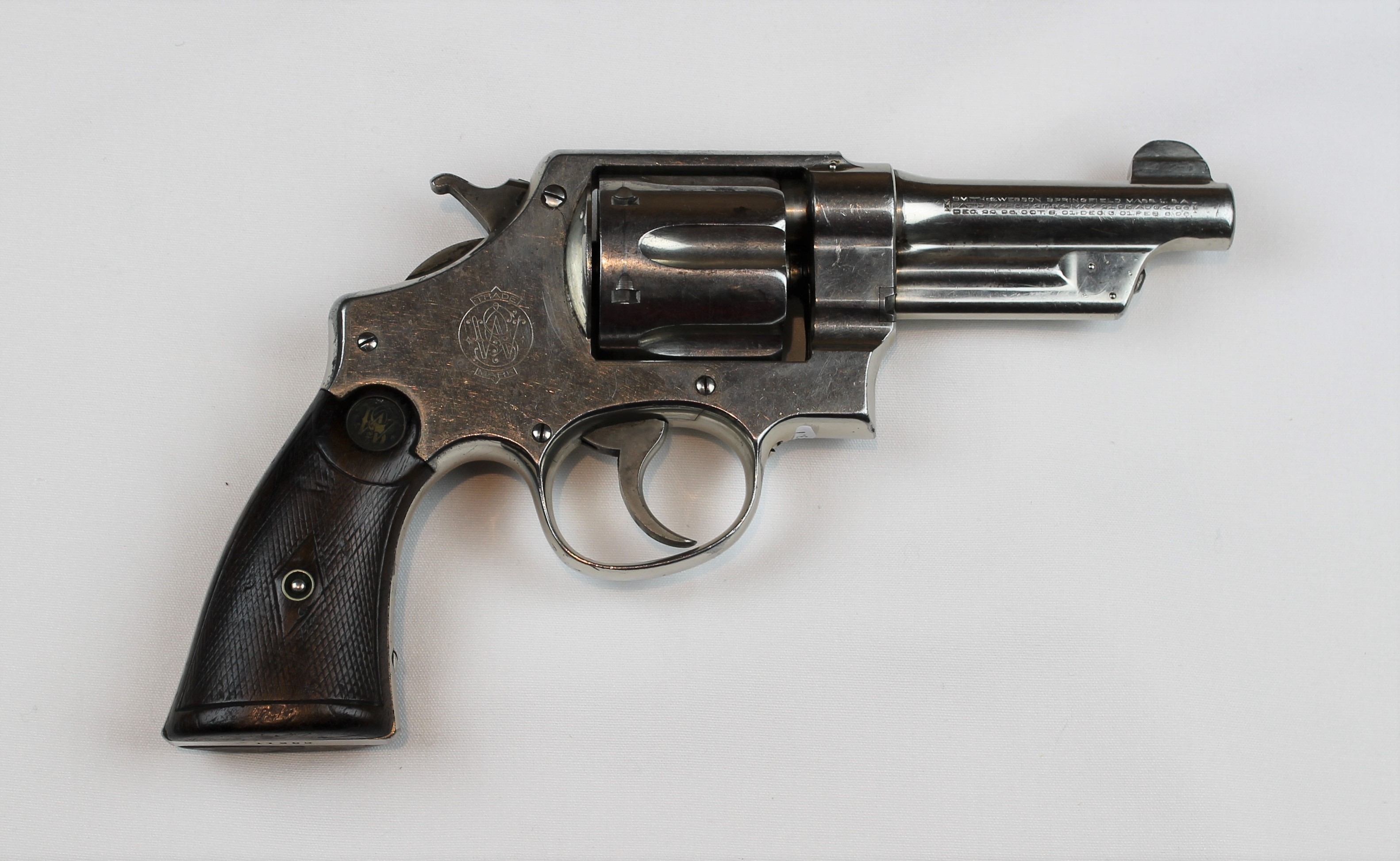 Captain Fox's Smith & Wesson .44 Hand Ejector 1st Model revolver, which he carried with him during this period. Loaned by Clinton G. Egger / Cat. # 1999.023.001