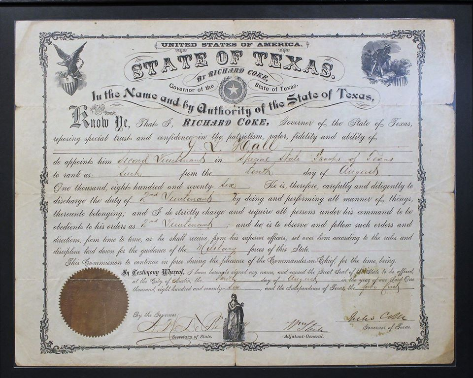 A State of Texas Texas Ranger certificate with the drawing of an eagle carrying a shield in one corner, a Native American in another, and a robed woman at the bottom.