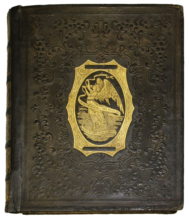 A dark brown book with embossing across the cover and a gold center illustration with an angel.