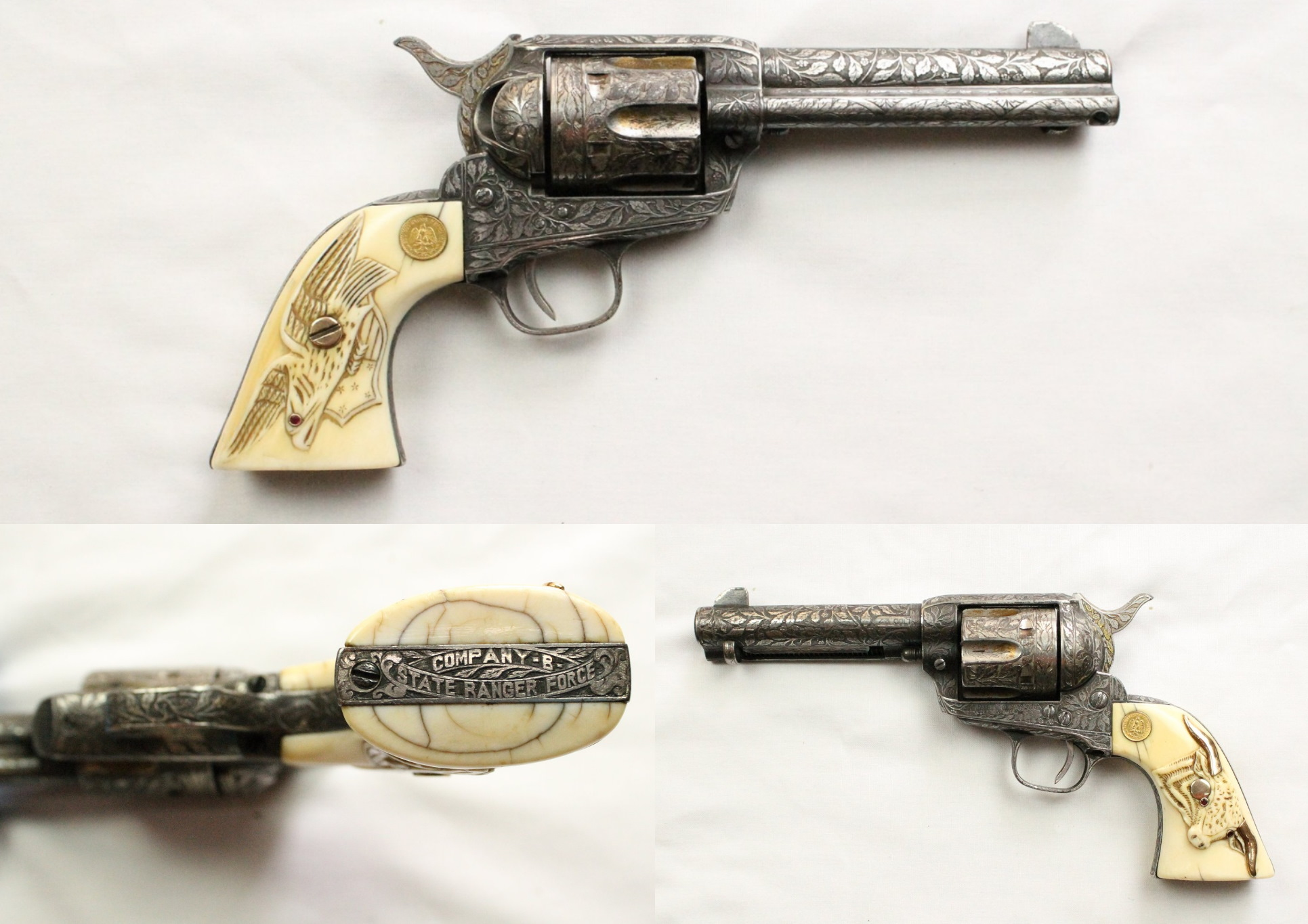 """A heavily decorated Colt pistol with a silver metal body and bone grips. There is a carved leave motif on the body of the gun, an eagle carved on to on side of the grip and a longhorn on the other. On the butt of the gun it says """"Company B State Ranger Force""""."""
