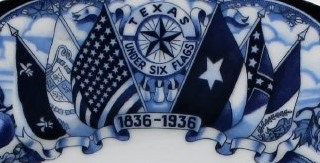 A design of the six flags of Texas and the Texas star in blue ink on a white background. The years printed in the design are 1836-1936.