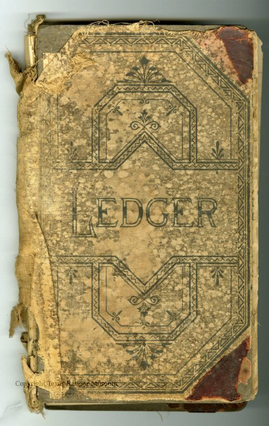 """An old tan colored book in tattered condition with a dark blue/black geometric design on it and the word """"Ledger"""""""