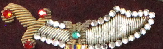 jeweled sword embroidery detail