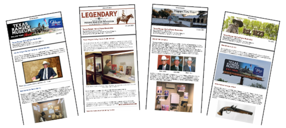 four thumbnail graphics of newsletters